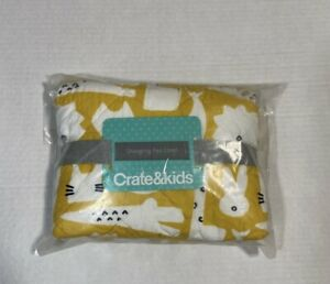 Crate & Barrel & Kids Changing Pad Cover Animal Print Yellow Giraffe Bird Cat