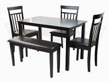 Dining Kitchen 5 Pcs SET Rectangular Table 3 Warm Chairs Bench Espresso Finish