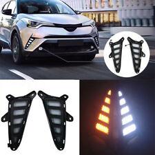 2x LED Daytime Run Driving Fog Lights DRL Turn Signal Amber Lamp for Toyota C-HR