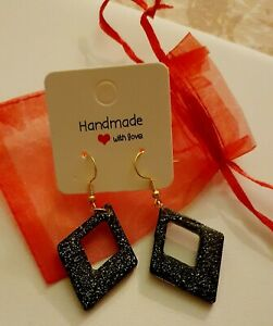 Sparkly Black And Silver Diamond Resin Earrings