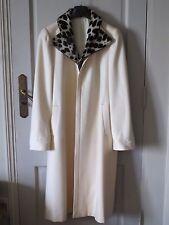 Manteau en laine blanc cassé col en fourrure de léopard T 38/40 mi-saison