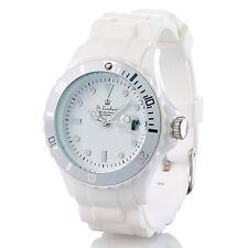 Sportliche Silikon-Quarz-Armbanduhr, Lupen-Mineralglas, strahlend-weiß