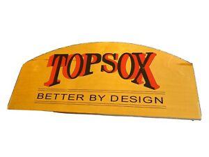 TOP SOX BETTER BY DESIGN WOOD ADVERTISING SIGN RED BLACK BOSTON SOCKS VTG 24X11