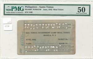 WWII Philippines Santo Tomas Internment Camp Meal Ticket June 1942 PMG 50