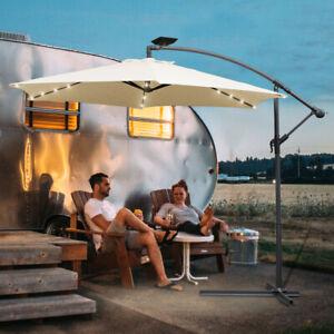 Sonnenschirm Ø350cm Ø300cm Wasserabweisend UV30+ Outdoor mit LED Solar Garten