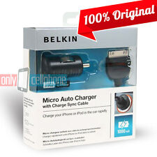 Belkin iPhone 4S 4 3GS iPad3 2 1 iPod1 Car Micro Auto Charger & Data Cable Black