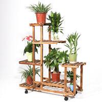 5 Tiers Reinforce Plant Stand Pine Wood Rolling Flower Shelf Rack Indoor Outdoor