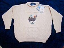 NWT Tivoli Aran Boys Sheep Pullover Chunky Cable Knit Wool Sweater Size 8-10