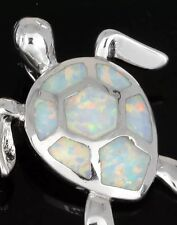 Stunning White Fire Lab Opal Silver Turtle Pendant Ocean Sea Animal Nature Lover