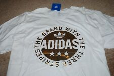 NEW Men's Adidas Gold Circle Trefoil White Graphic T-shirt (X-Large)