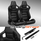 2 x BLACK/SIDE CARBON FIBER MIX PVC LEATHER L/R RACING BUCKET SEATS + SLIDER