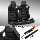 2 X Blackside Carbon Fiber Mix Pvc Leather Lr Racing Bucket Seats Slider