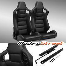 2 x BLACK/SIDE CARBON FIBER MIX PVC LEATHER L/R RACING BUCKET SEATS + SLIDER