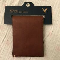 American Eagle Men's 100% Genuine Leather Slim Bifold Wallet Brown New With Tags