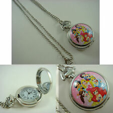 Princess Belle Aurora Ariel Ladies Child Fashion Pocket Watch Necklace + CHARM