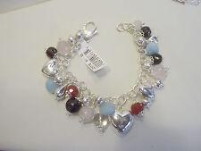 "Arte d'Argento .925 Sterling 8"" Multi-gemstone Charm Bracelet"