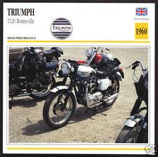 1960 Triumph T120 Bonneville 650cc Bonnie Motorcycle Photo Spec Sheet Info Card