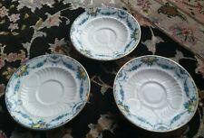 3 Superb Antique (1890) Registered Design English Wedgwood Bone China Saucers