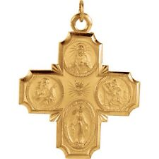Four Way Cross Pendant 34 x 25mm in 14K Yellow or White Gold Scapular REL150