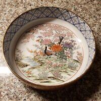 Toyo Peacock Porcelain Fruit Bowl Gold Trim Handpainted Red Blue Floral Japan