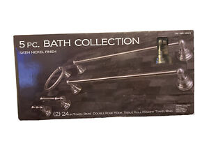 5PC HOME ZONE  BATH COLLECTION Satin Nickel Towel Bars, Ring, Holder, Robe Hook