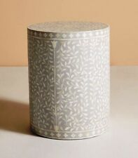 Indian Bone Inlay Side Table With Floral Design In Gray Color For Home Decor