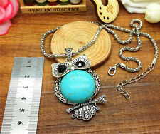 Hot Jewelry Luxurious Owl Turquoise Natural tibet silver Necklace&Pendant