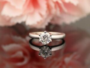 GIA CERTIFIED 1.01CT NATURAL ROUND CUT DIAMOND 14K GOLD SOLITAIRE CLASSIC RING-D