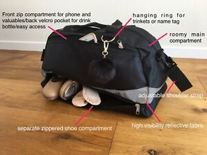 DANCE BAG - UNISEX SPORT GYM TRAVEL Silver Reflective With Shoe Compartment