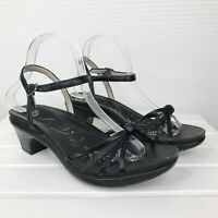 Abeo B.I.O.system Sandals Heels Sz 9 Women Leather Ankle Strappy Black Open Toe