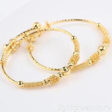 Childrens Bracelets 24K Yellow Gold Filled Adjustable Bell Bangle Kids Gift 2pcs