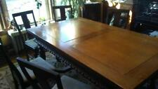 Old Dining Table w/ 7 Chairs Jacobean Extension Style
