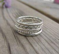 Set of Five Sterling Silver 1.5mm Stacking Rings Mixed Designs