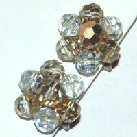 Vintage clear light champagne faceted glass crystal beads cluster clip earrings