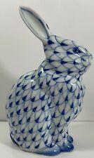Andrea by Sadek Ceramic Blue and White Fishnet Figurine Rabbit