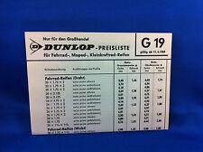 Dunlop Preisliste Fahrrad Moped Kleinkraftrad Reifen G19 1969 Grosshandel