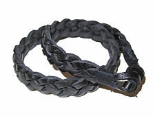 Ralph Lauren Braided Black Leather Polo Double Wrap Toggle Cuff Bracelet