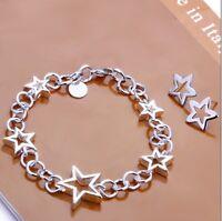ASAMO Damen Schmuckset Sterne Armband Ohrstecker Silber plattiert 2er Set SS1176
