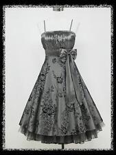 dress190 GREY 50s FLOCK TATTOO ROCKABILLY VTG PROM PARTY COCKTAIL DRESS 12-14
