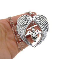 Fashion Wing Heart Angel Pearl Cage Pendant Necklace Sweater Chain Jewellery