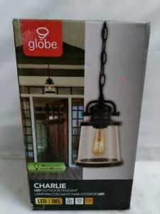 Charlie 1-Light Bronze Out Hanging Pendant, Vint Bulb Included by Globe Electric