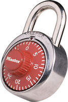 Master Lock Padlock, Standard Dial Combination Lock, 1-7/8 in. Wide, Red, 1504D