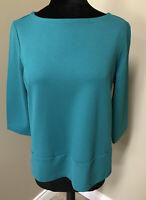 J.Jill Ponte Knit Top 3/4 Sleeve Pockets Shirt Boat Neck Medium M Teal/Peacock