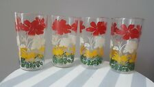 Vintage Tumbler Drinking Glass Juice Glasses Red White Flower Set of 4 4 3/4""