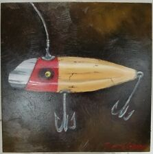 Vintage Lure Cream and Red Original Oil Painting on Panel Board