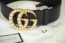 Authentic GUCCI PEARLS Black belt Gold GG Marmont Buckle sz 90 / 36 fits 30-32