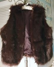 NEW~ Plus Size 3X Brown Red Faux Fur Boho Open Vest Jacket Wrap $109