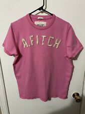 EUC Mens Abercrombie & Fitch Short Sleeve Crewneck Muscle T shirt Pink White Lg