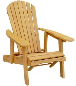 Patio Adirondack Chair Reclining Wood in Medium Brown with Pull-Out Ottoman