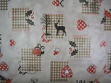 CHRISTMAS REINDEER& HEARTS VINYL OILCLOTH TABLE CLOTH £3.99 METRE FREE POSTAGE